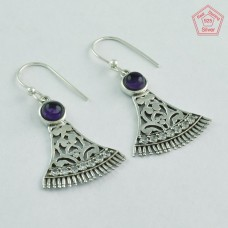 Amethyst Stone And Cubic Zirconia Stone 925 Sterling Silver Earrings 5291