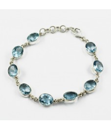 Featured Amazing Charm !! Blue Topaz Sterling Silver Bracelet